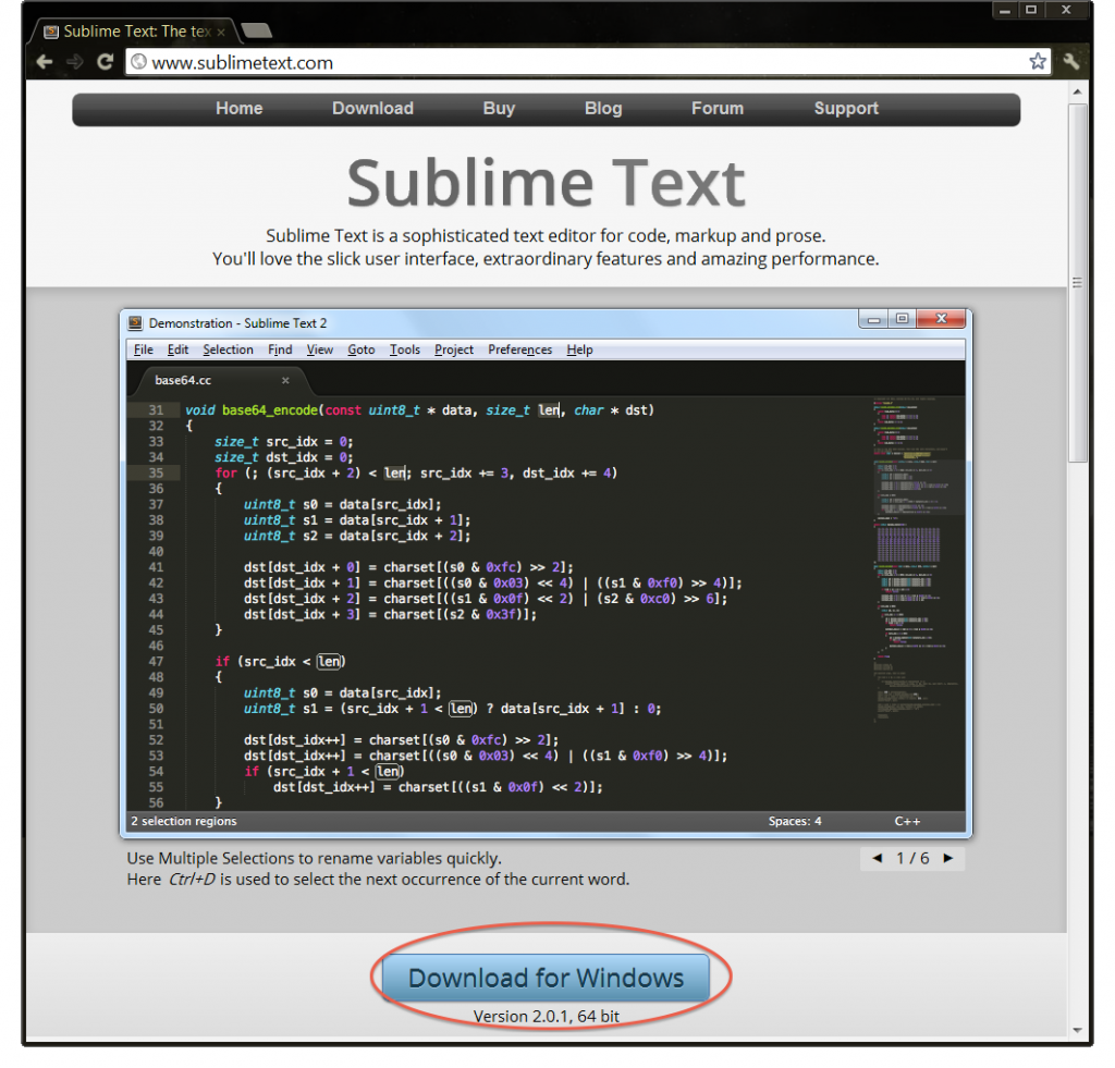 Pagina Web de Sublime Text, para descargar.
